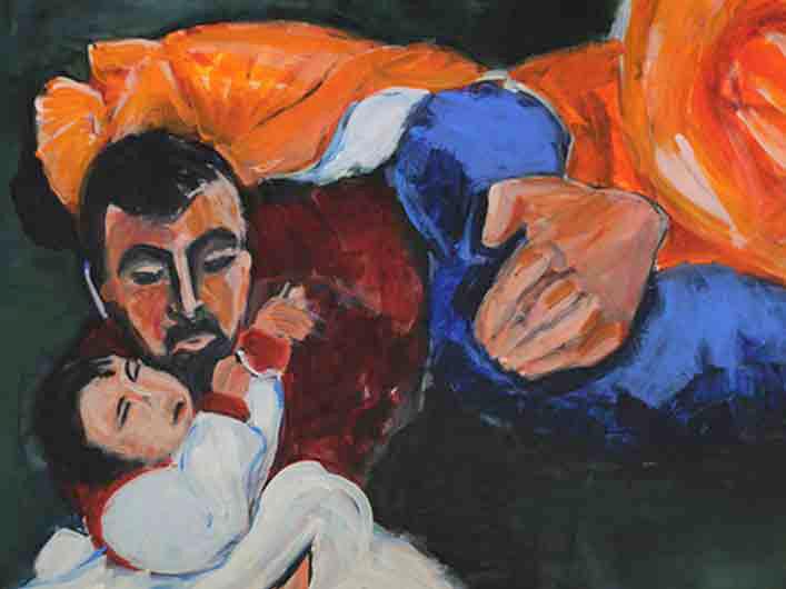 Beschützer, Marlene Kern, Männerbilder, Serie 1, Format 120 x 100 cm, Acryl auf Leinwand