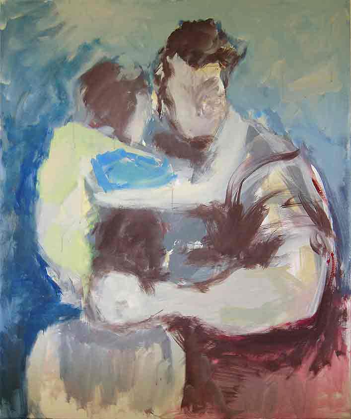 Erleichterung, Marlene Kern, Männerbilder, Serie 1, Format 120 x 100 cm, Acryl auf Leinwand