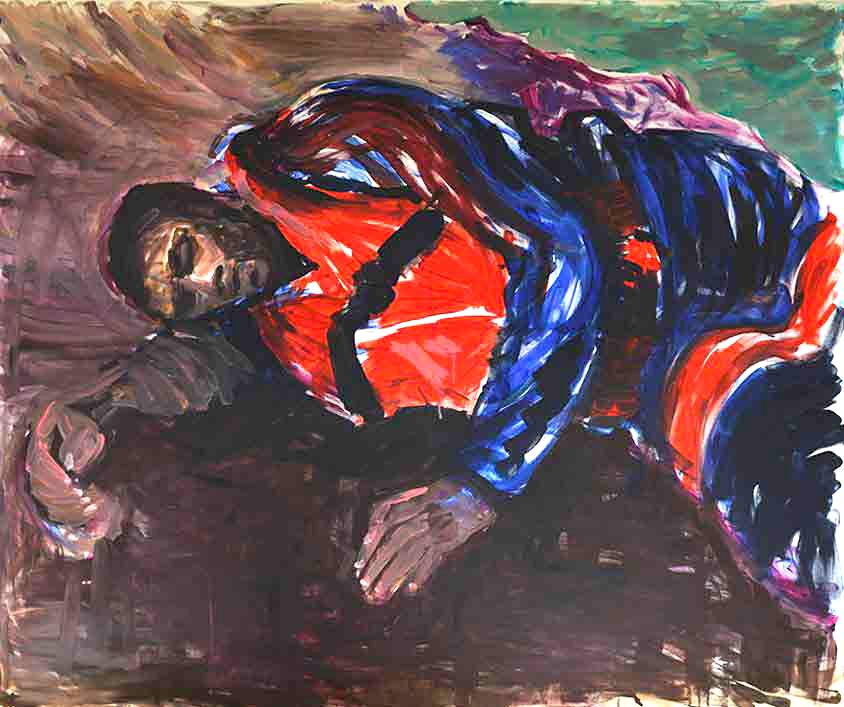 Erschöpfung, Marlene Kern, Männerbilder, Serie 1, Format 120 x 100 cm, Acryl auf Leinwand