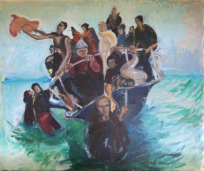 Gratwanderung, Marlene Kern, Männerbilder, Serie 1, Format 120 x 100 cm, Acryl auf Leinwand
