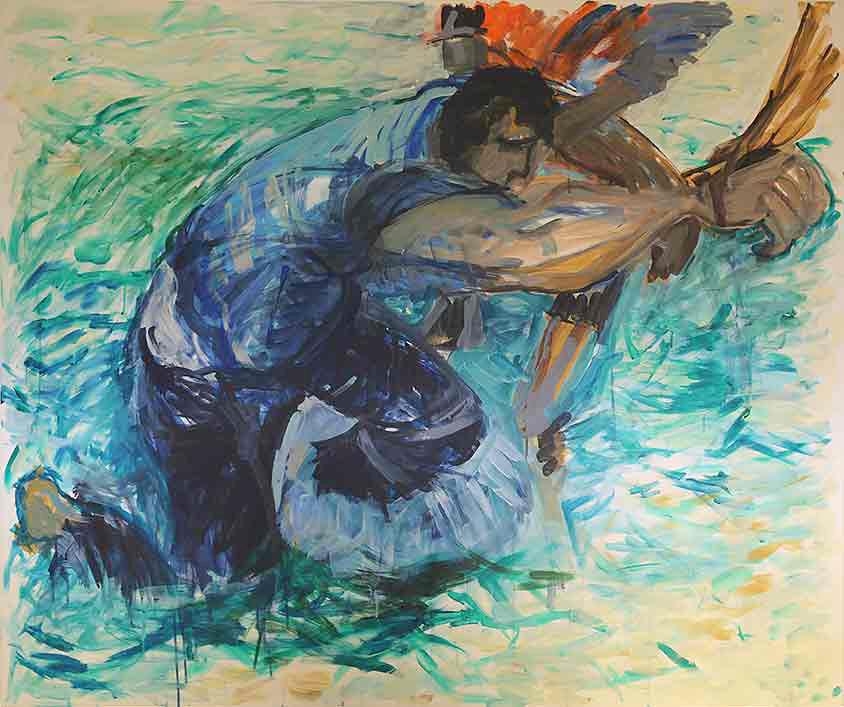Hilfe, Marlene Kern, Männerbilder, Serie 1, Format 120 x 100 cm, Acryl auf Leinwand