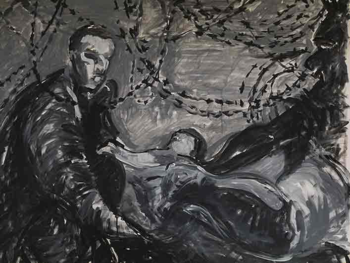 Hoffnung, Marlene Kern, Männerbilder, Serie 1, Format 120 x 100 cm, Acryl auf Leinwand