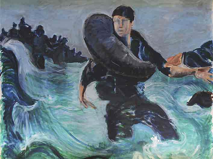 Verzweiflung, Marlene Kern, Männerbilder, Serie 1, Format 120 x 100 cm, Acryl auf Leinwand