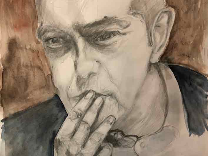 Alexis Tsipras – Männerbilder, Porträts Marlene Kern, Zeichnung und Aquarell auf Papier, München, Mai 2020