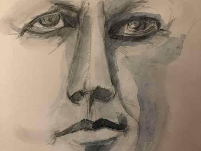 John F. Kennedy – Männerbilder, Porträts Marlene Kern, Zeichnung und Aquarell auf Papier, München, Mai 2020