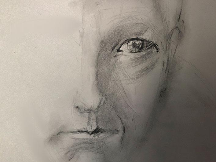 Leonard Cohen, Zärtliche Inspiration, Porträt, Marlene Kern, Bleistift auf Papier, 30 cm x 40 cm