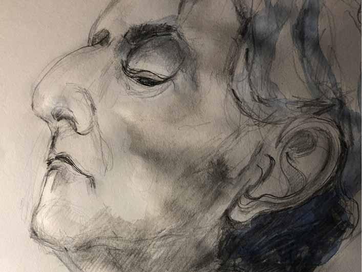 Leonard Bernstein, Zu kleines Format für einen großen Maestro, Porträt, Marlene Kern, Bleistift auf Papier, 30 cm x 40 cm