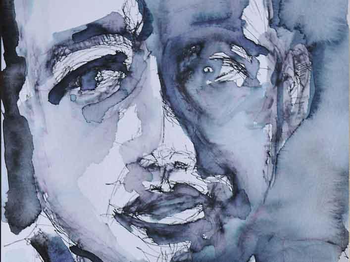 Zweifler, Marlene Kern, Tusche und Aquarell auf Papier, 40 x 50 cm