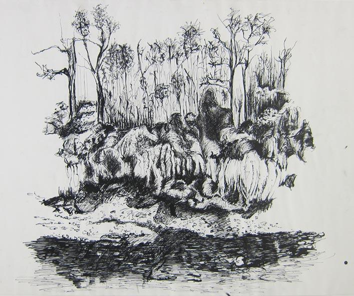 Landscape, Marlene Kern, Drawing, Ink on paper