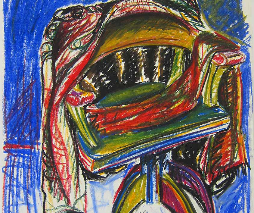 Leather jacket, Marlene Kern, Drawing, Oil pastels on paper, 420 x 594 cm